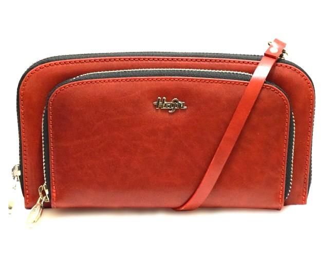 aae2cd9534 Červená luxusní kožená kabelka a peněženka 2v1 HAJN 1593215