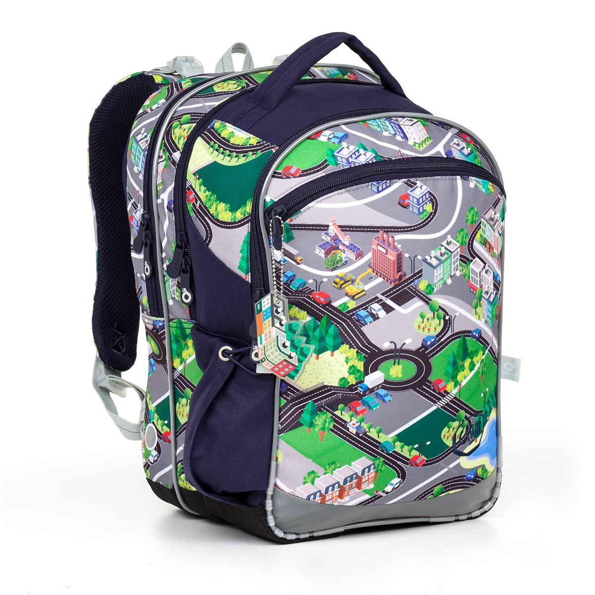 cd9c5fd72b7 Tříkomorový školní batoh pro kluky s mapou města Topgal COCO 17001
