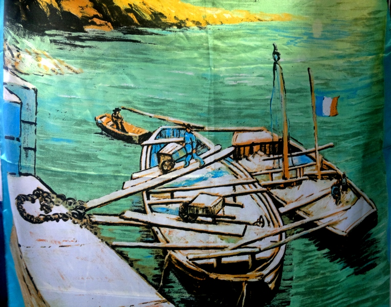 Elegantni Modrozeleny Satenovy Satek 90x90 S Kresbou Lodi